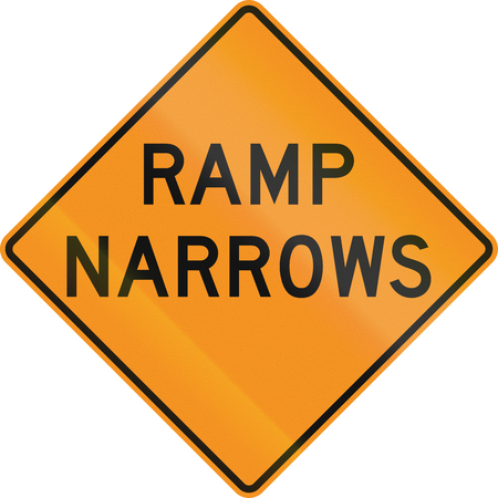 roadworks: United States MUTCD road sign - Ramp narrows.