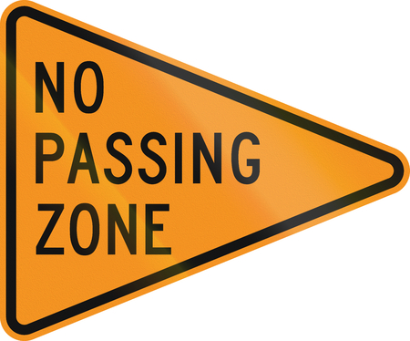 roadworks: No Passing Zone road sign for roadworksconstruction areas, in Delaware. Source.