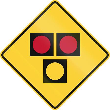 semaforo peatonal: La se�al de tr�fico utilizado en el estado norteamericano de Delaware - se�al de advertencia para una traves�a del HALC�N de peatones.