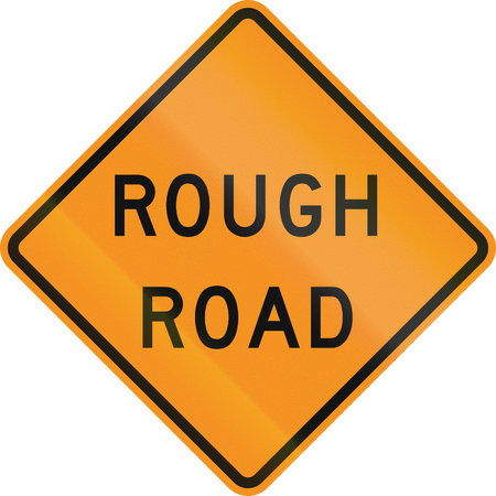 rough road: United States MUTCD road sign - Rough road.