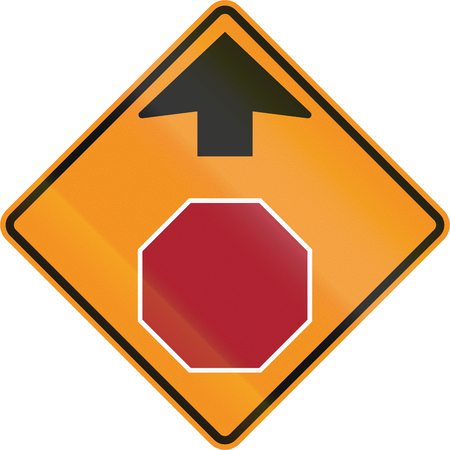 on temporary: Temporary road control version - Stop ahead.