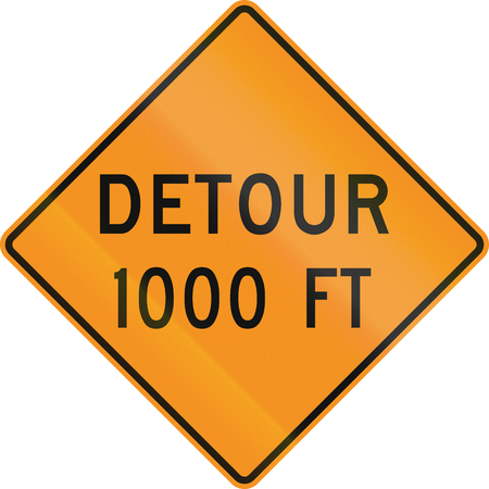 detour: United States MUTCD road sign - Detour 1000 Feet.