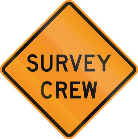 roadworks: United States MUTCD road sign - Survey crew. Stock Photo