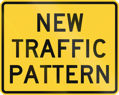 auxiliary: Road sign used in the US state of Delaware - New traffic pattern.