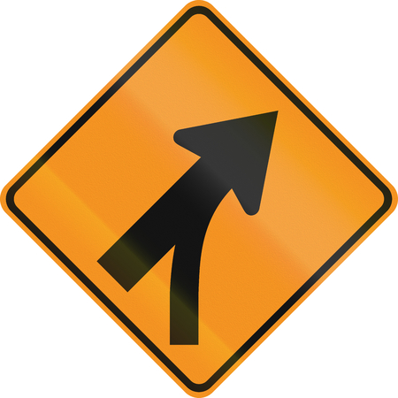 merge: United States MUTCD road sign - Intersection with merge.