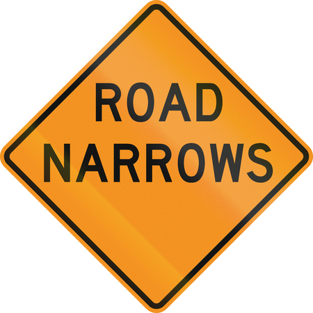 narrows: United States MUTCD road sign - Road narrows. Stock Photo