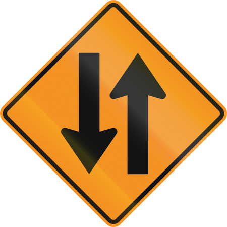 two way traffic: United States MUTCD road sign - Two way traffic.