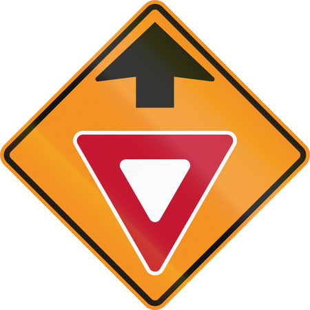 roadworks: Temporary road control version - Give way ahead.