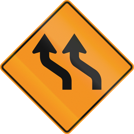 temporary: Temporary road control version - Double curve. Stock Photo
