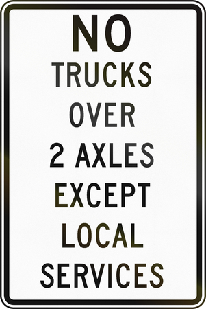 restriction: Road sign used in the US state of Delaware - Truck restriction.