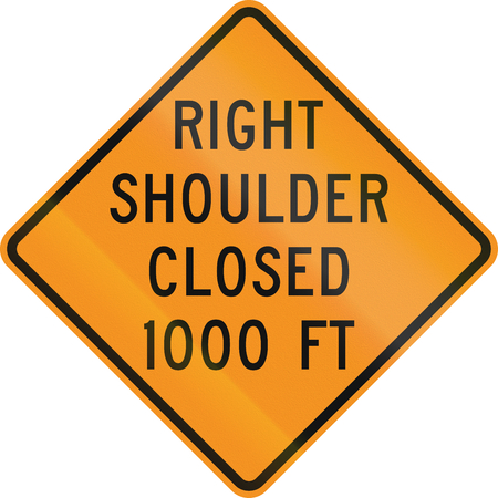 road closed: United States MUTCD road sign - Right shoulder closed. Stock Photo