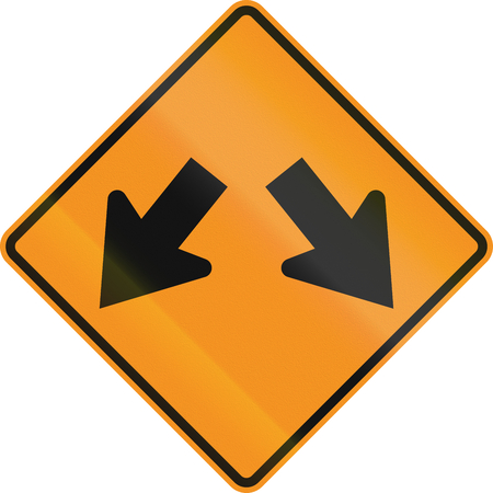 on temporary: Temporary road control version - Right or left. Stock Photo