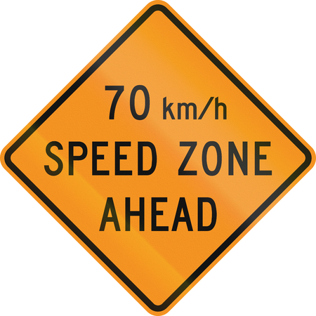 kmh: Temporary United States MUTCD warning road sign - 70 Kmh zone ahead. Stock Photo
