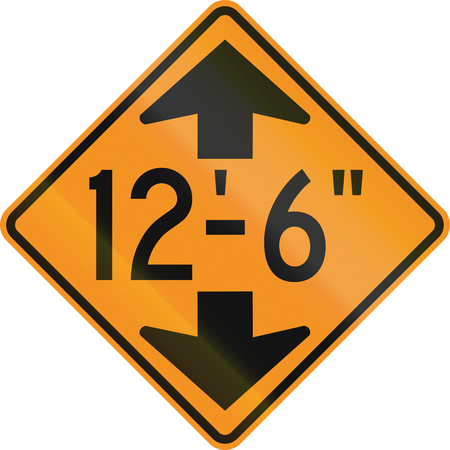 on temporary: Temporary road control version - Height limit ahead. Stock Photo