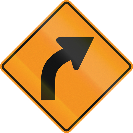 on temporary: Temporary road control version - Right curve.