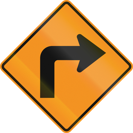 roadworks: Temporary road control version - Right turn.