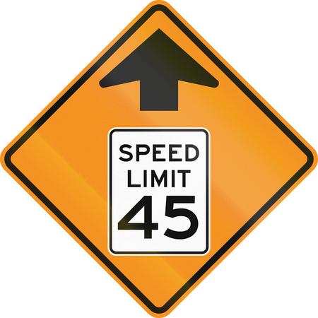roadworks: Temporary road control version - 45 MPH Zone ahead.