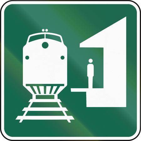 informational: United States MUTCD road sign - Train station.