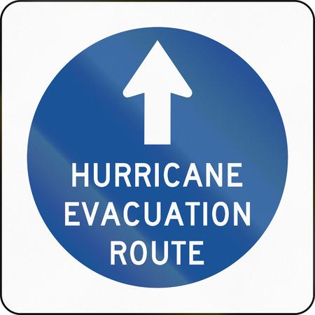 evacuacion: Estados Unidos MUTCD de emergencia en carretera signo - El hurac�n ruta de evacuaci�n. Foto de archivo