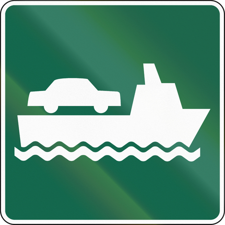 quadratic: United States MUTCD road sign - Ferry. Stock Photo