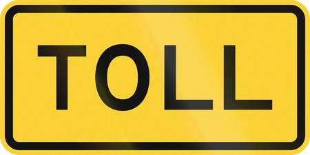 informational: United States MUTCD road sign - Toll. Stock Photo