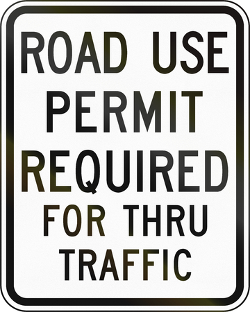 required: United States MUTCD emergency road sign - Permit required. Stock Photo