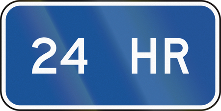 24 hours: United States MUTCD road road sign - 24 hours.