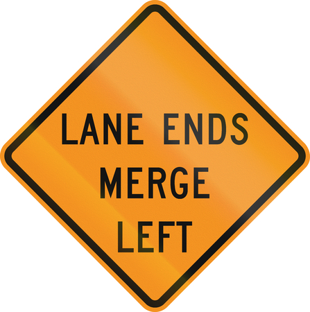the ends: United States MUTCD road sign - Lane ends.