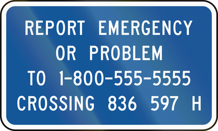 emergency number: United States MUTCD road sign - Emergency number.