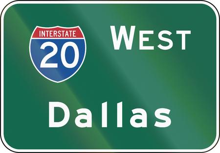 interstate: United States MUTCD road sign - Interstate West Dallas.