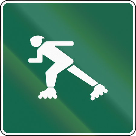 rollerblading: United States MUTCD road sign - Inline-skate route.