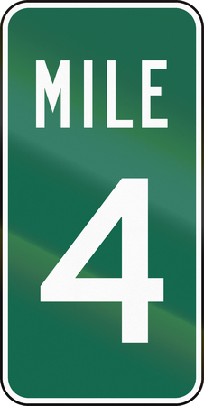 mile: United States MUTCD road sign - Distance road marker.