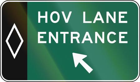 occupancy: United States MUTCD road sign - HOV sign.