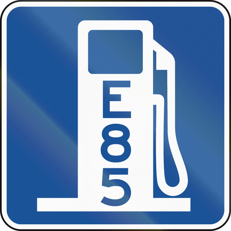 United States MUTCD road road sign - Gas station with E85.