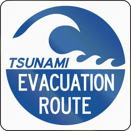 evacuation: United States MUTCD emergency road sign - Tsunami evacuation route. Stock Photo