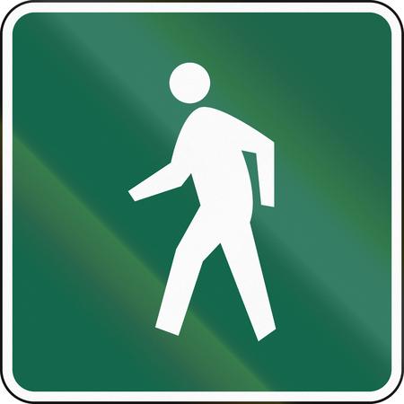 pedestrian: United States MUTCD road sign - Pedestrian route.