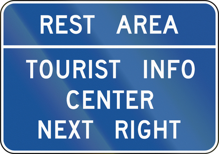 at rest: United States MUTCD guide road sign - Rest area. Stock Photo