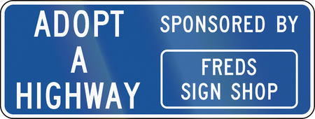 informational: United States MUTCD road sign - Adopt a highway. Stock Photo