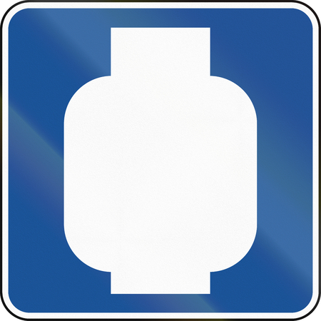 propane gas: United States MUTCD road road sign - Propane gas available. Stock Photo
