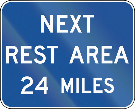 rest: United States MUTCD guide road sign - Rest area. Stock Photo