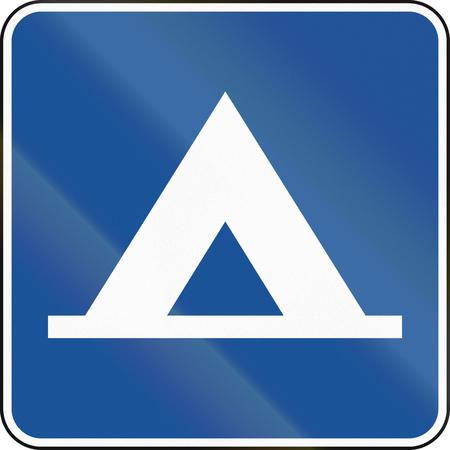 campsite: United States MUTCD road road sign - Campsite.