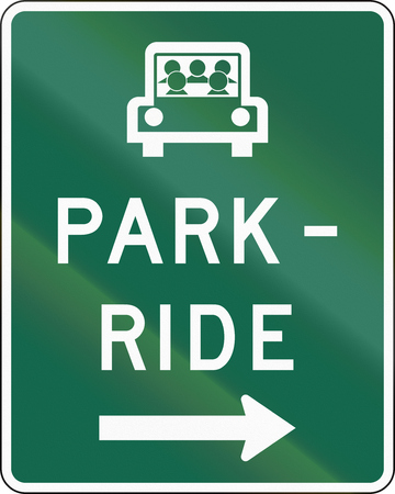 ride: United States MUTCD road sign - Park and ride.
