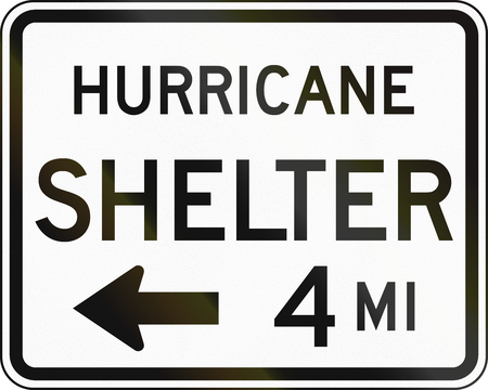shelter: United States MUTCD emergency road sign - Hurricane shelter.