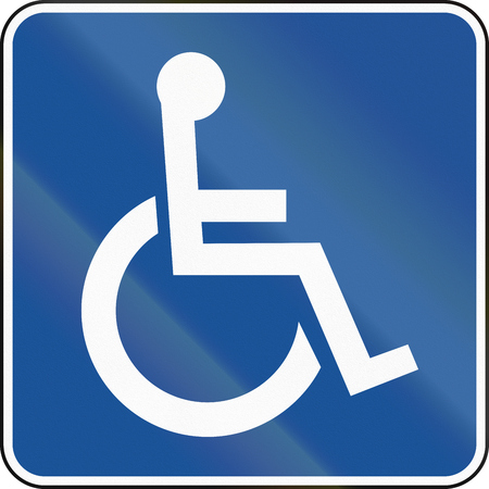physically: United States MUTCD road road sign - Handicapped accessible.