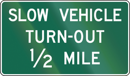 turnout: United States MUTCD guide road sign - Slow vehicle turn-out.