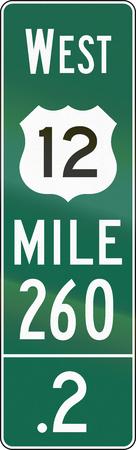 number twelve: United States MUTCD road sign - Distance road marker.