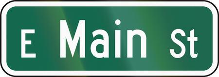 main street: United States MUTCD guide road sign - Main street. Stock Photo