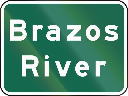 informational: United States MUTCD road sign - Brazos river. Stock Photo