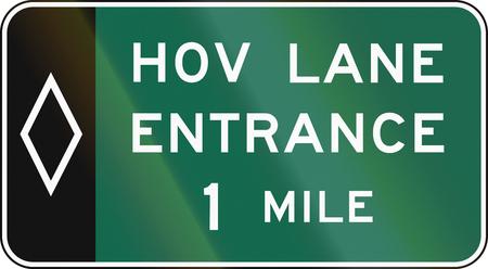 one lane roadsign: United States MUTCD road sign - HOV sign.