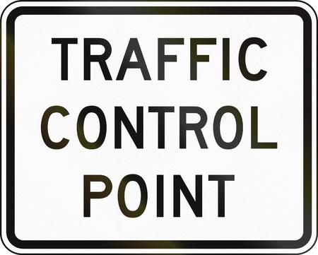 traffic control: United States MUTCD emergency road sign - Traffic control point. Stock Photo